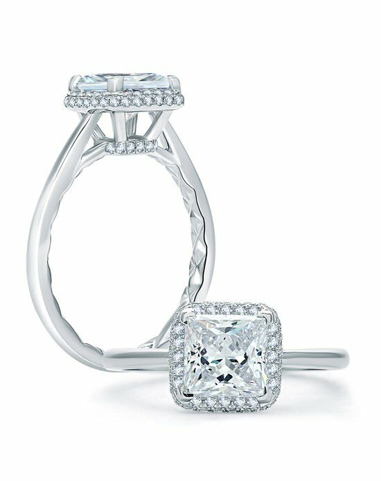 A.JAFFE Quilted Pave Princess Cut Halo Engagement Ring ...