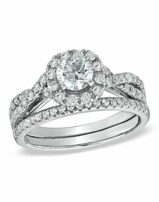 Zales 116 CT Diamond Frame Twist Bridal Set in 14K White Gold