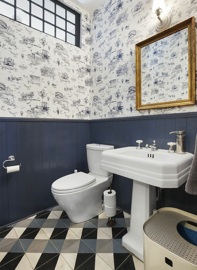 Pattern Play Is The Game In This Tudor Town House Bathroom That Mixes  Traditional Toile Paper With A Bold Tile Floor.