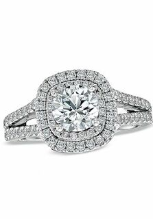 vera wang love at zales vera wang love collection 2 ct tw diamond frame split shank engagement ring in 14k white gold 18628313 engagement ring the knot - Zales Wedding Rings For Her