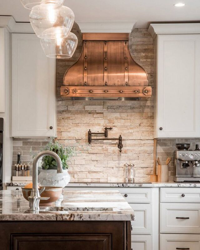 ... Bohemian Kitchen By Pairing A Butcher Block Countertop And Slate  Cabinets With Patterned Moroccan Tiles. With Lofty White Ceilings, The Bold  Backsplash ...