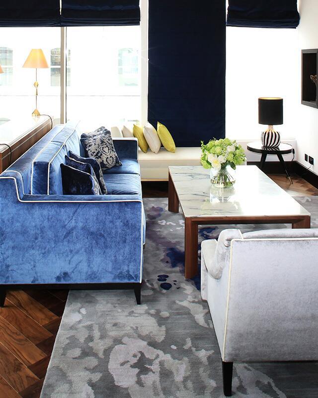 blue velvet luxury lounge penthouse