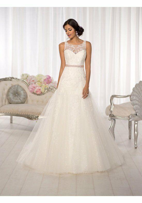 Essense of australia d1615 wedding dress the knot for A line illusion neckline wedding dress