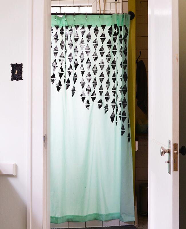 DIY Hand Stamped Shower Customizable Curtain