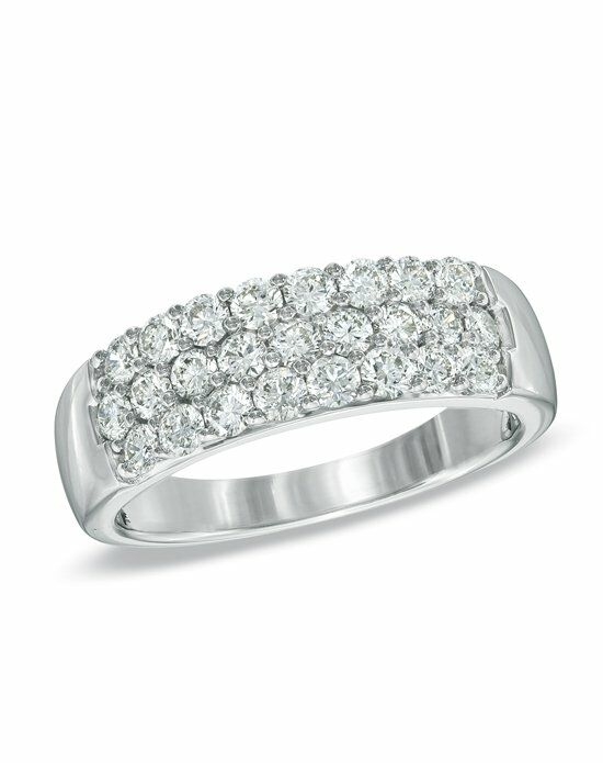 Zales 1 CT T W Certified Diamond Three Row Wedding Band in 18K White Gold