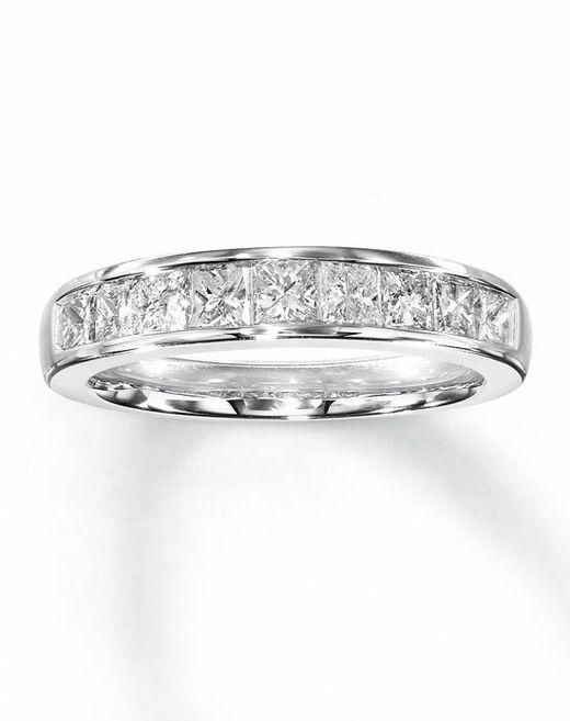 kay jewelers diamond anniversary band 14k white gold princess cut 1ct tw 531829606 wedding ring the knot - Kays Jewelry Wedding Rings