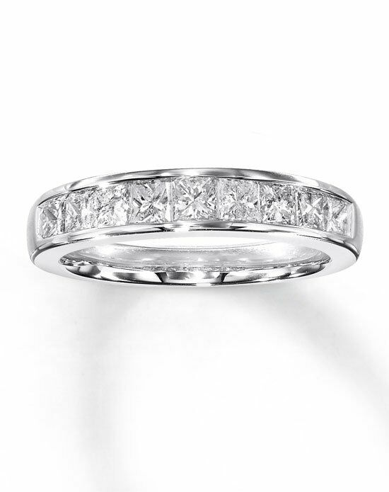 kay jewelers diamond anniversary band 14k white gold princess cut 1ct tw 531829606 wedding ring the knot - Wedding Rings At Kay Jewelers
