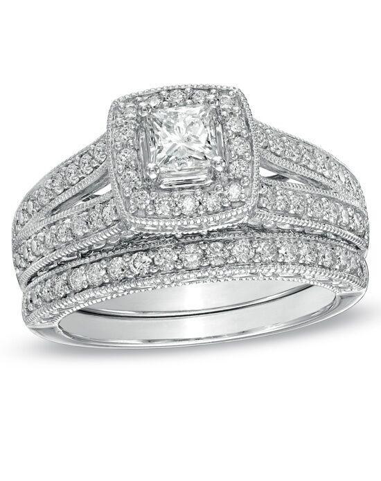 Zales 114 CT TW PrincessCut Diamond Frame Bridal Set in 14K