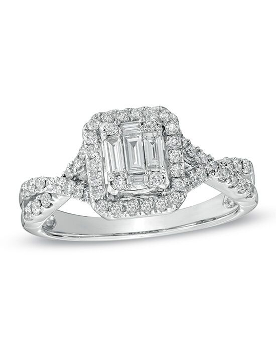Zales 5 8 CT T W Baguette Diamond Frame Engagement Ring in 14K White Gold 1