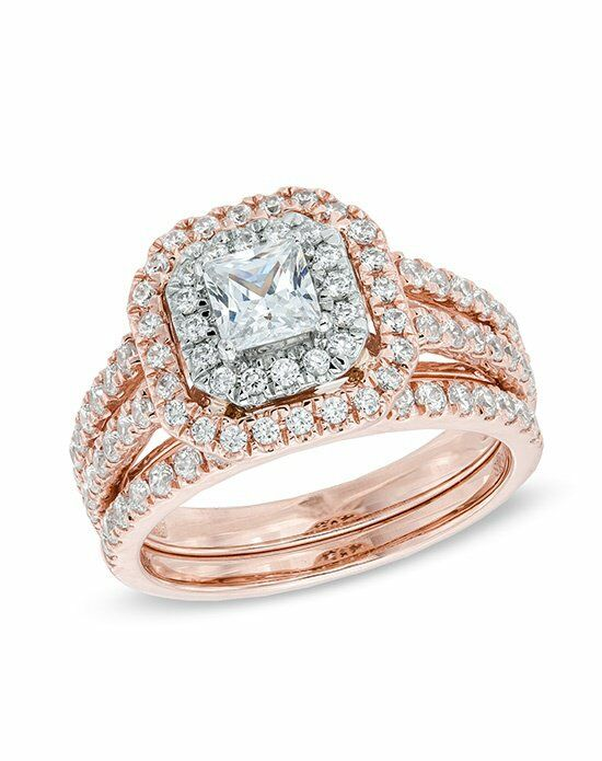 zales 1 12ct tw diamond double frame bridal set in 14k pink white gold hii1i2 19983888 wedding ring the knot - Wedding Rings At Zales