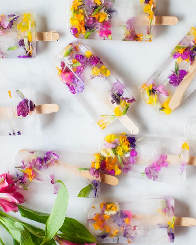 floral ice popsicles