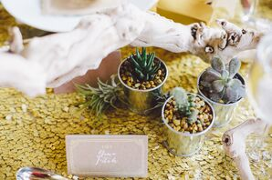 Succulent Decor on DIY Metallic Gold Table Runner
