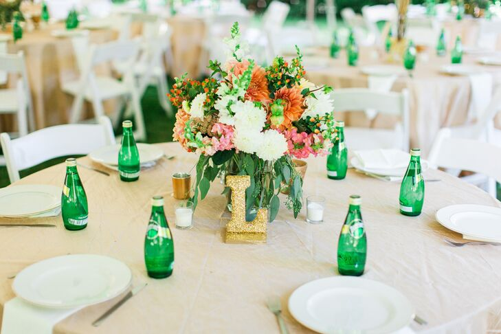 Each table had handmade centerpiece arrangements filled with dahlias, snapdragons and seeded eucalyptus.