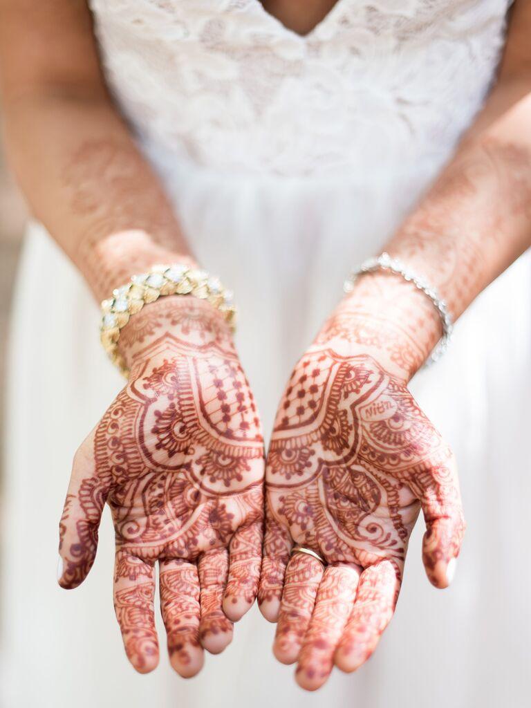 Palm henna tattoo for wedding