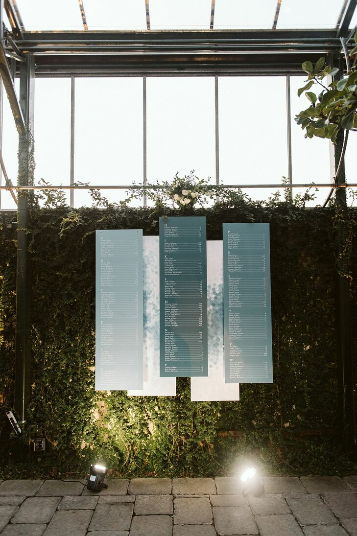 Classic Seating Chart Signs and Greenery Wall