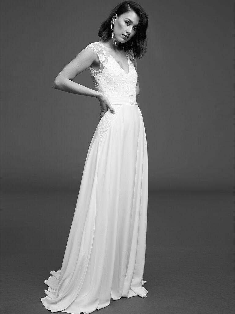 Rime Arodaky high waisted gown with V-neck