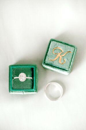 Engagement Ring in Monogrammed Green Velvet Ring Box