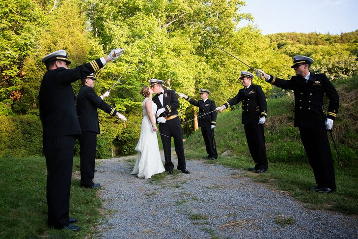 Declan wore his Mess Dress Blues (militaryrnversion of black tie) and his groomsman either wore classic black tuxedos or their Service Dress Blue uniforms.