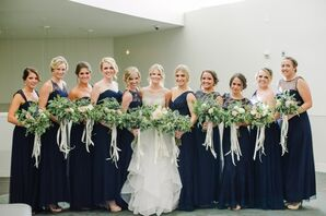 Floor-Length Navy Bridesmaid Gowns