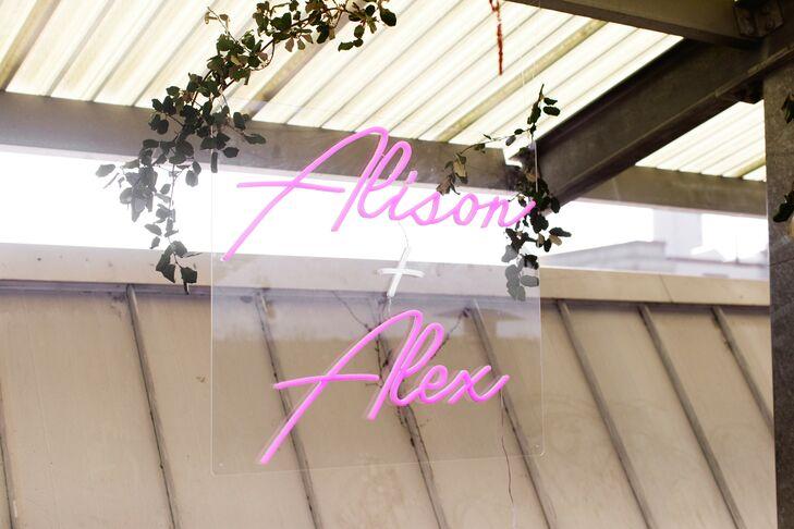 Custom Neon Sign at Rooftop Garden Wedding in Brooklyn