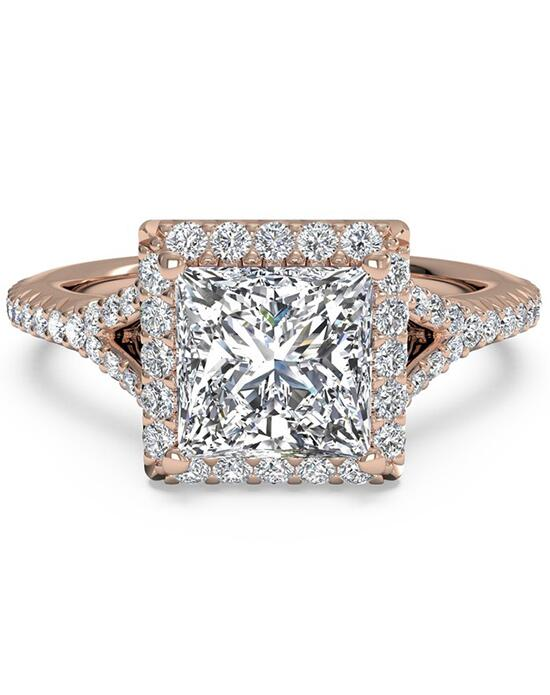 Ritani French-Set Halo Diamond 'V' Band Engagement Ring - in 18kt Rose Gold (0.23 CTW) for a Princess Center Stone Engagement Ring photo