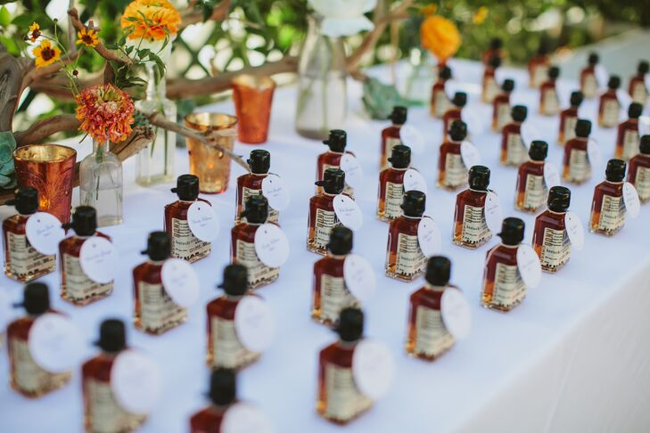"""""""We love Knob Creek bourbon and wanted to kick off the cocktail hour with individual mini bottles,"""" Gwynne says."""