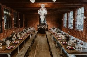 Reception With Farm Tables at the Carondelet House in Los Angeles, California