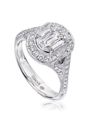 Christopher Designs Unique Emerald, Oval Cut Engagement Ring