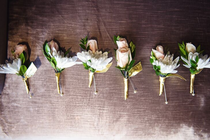 Classic White Daisy and Blush Rose Boutonnieres