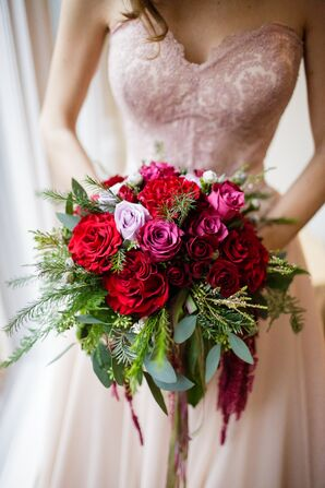 Elaborate Garden-Style Red Peony Bouquet