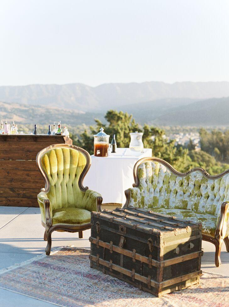Vintage Green Lounge Furniture at Outdoor Cocktail Hour