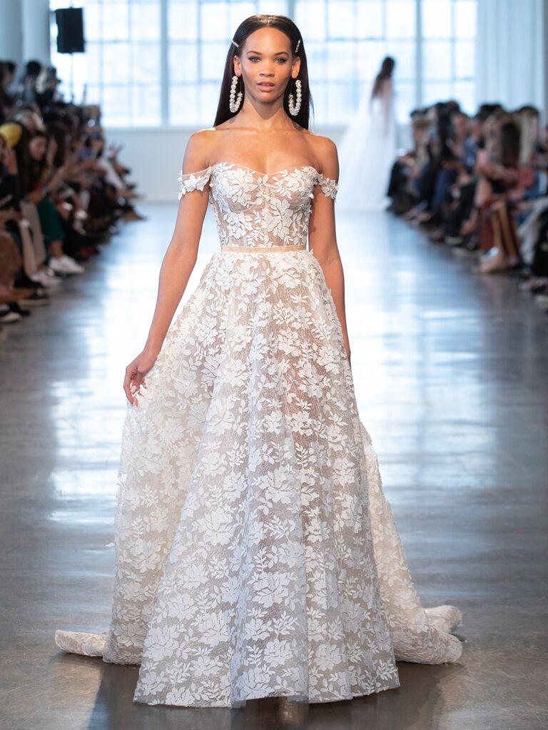Berta Spring 2020 Bridal Collection off-the-shoulder A-line wedding dress
