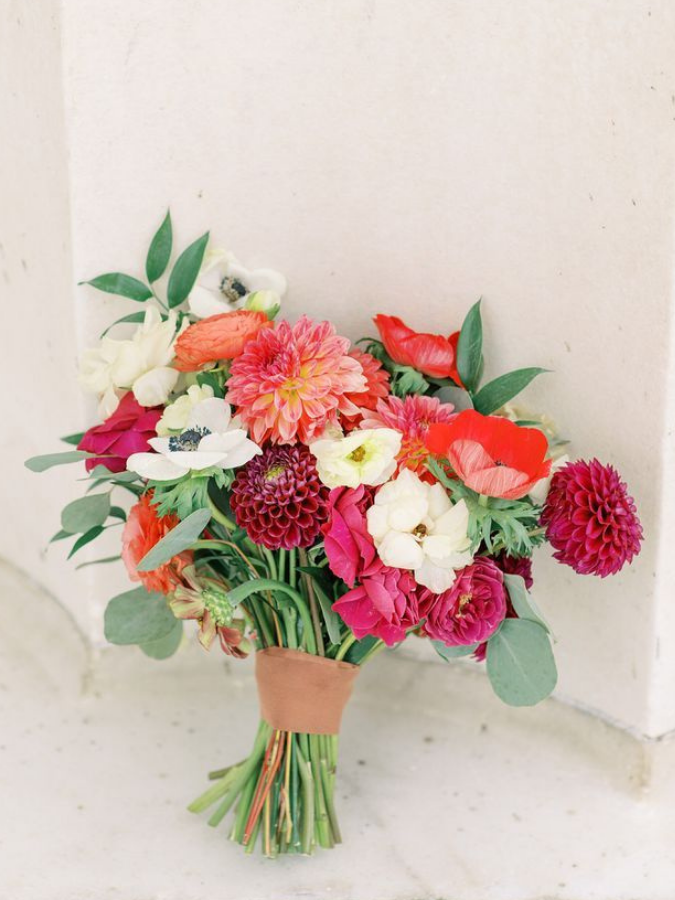 Bright red bouquet with eucalyptus