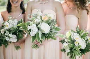 Green and White Peony and Fern Bouquet