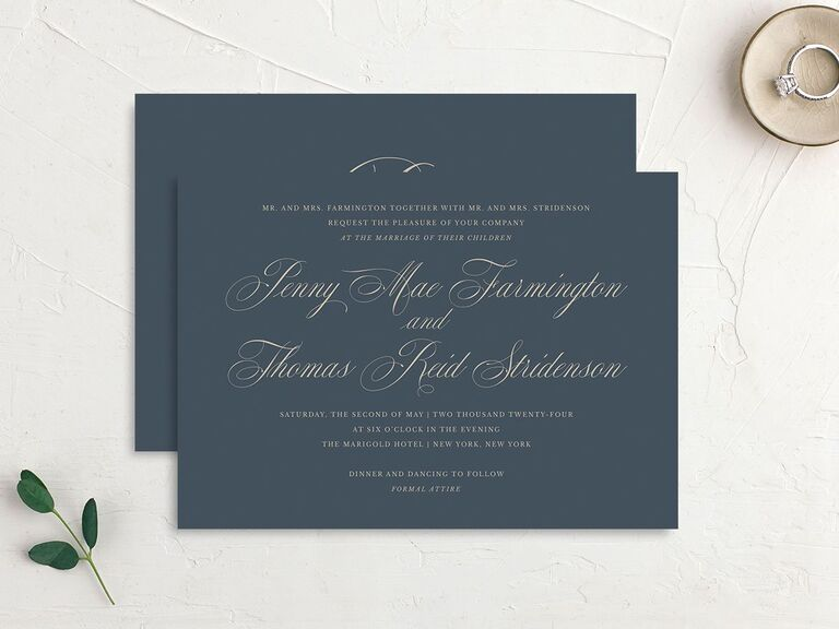 Formal and elegant wedding invitation with navy background budget friendly