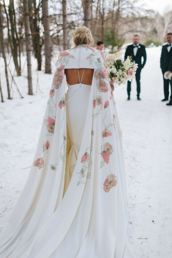 Wedding Gown With Floral Cape at Snow-Covered Ceremony in Michigan