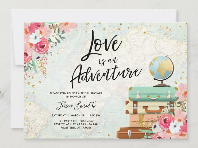 'Love is an adventure' in black script above event details with floral, luggage and globe graphics on faded map background with gold flecks