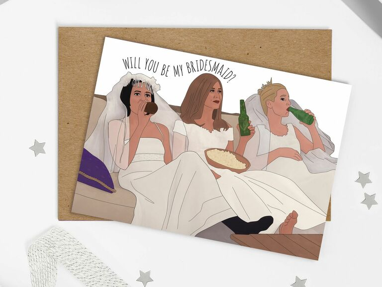 friends will you be my bridesmaid card