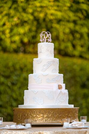 Classic Wedding Cake With Lace-Inspired Design