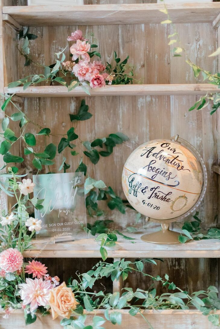Calligraphed Globe Decoration for Microwedding in Baltimore, Maryland