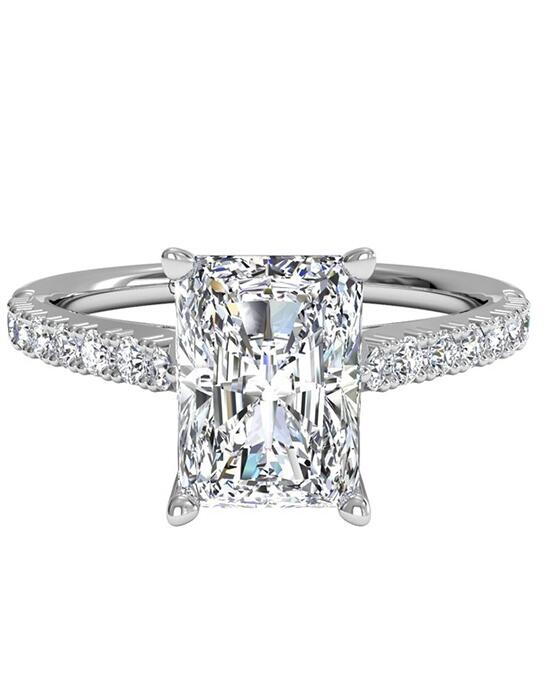 Ritani French-Set Diamond Band Engagement Ring - in 14kt White Gold (0.23 CTW) for a Radiant Center Stone Engagement Ring photo