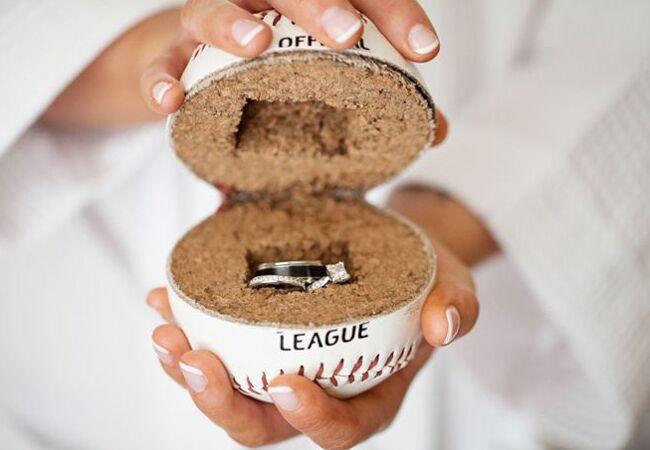Baseball Ring Holder | Kaitlin Noel Photography  | TheKnot.com