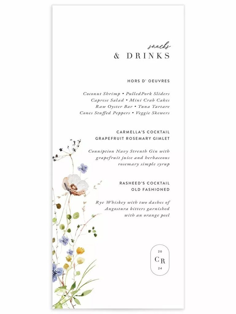 Colorful wildflower graphic and monogram oval graphic with black minimalist type on white background