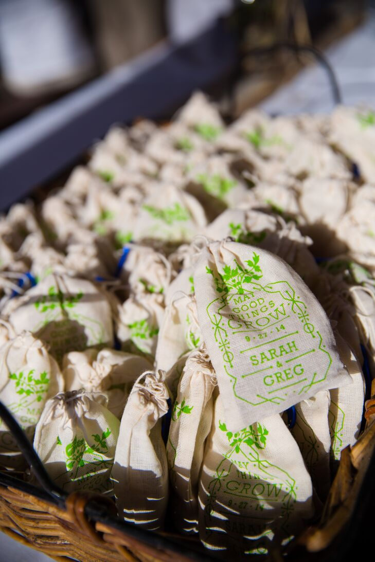 """Sarah and Greg gave guests little burlap bags filled with seeds with various wildflowers. """"Guests were able to take these home to plant in their gardens, reminding them of the wonderful time had at our celebration,"""" Sarah says."""