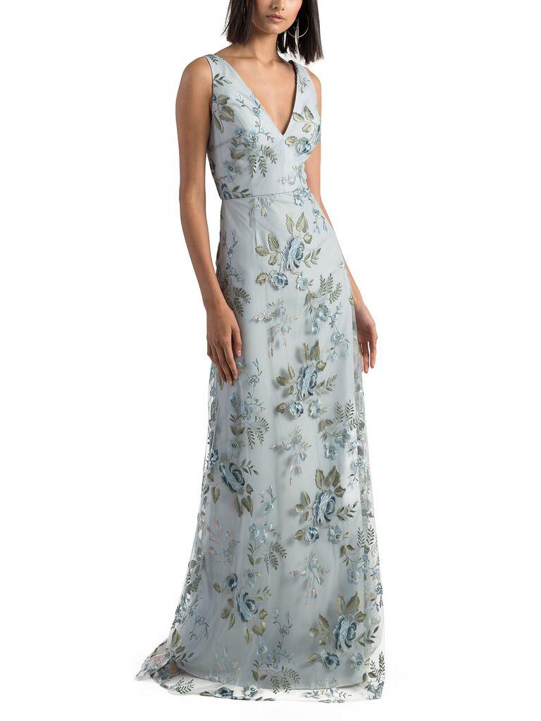 Blue and green sleeveless floral bridesmaid dress