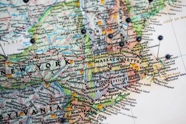Guests pinned their hometowns on a map at the reception in lieu of a guest book.