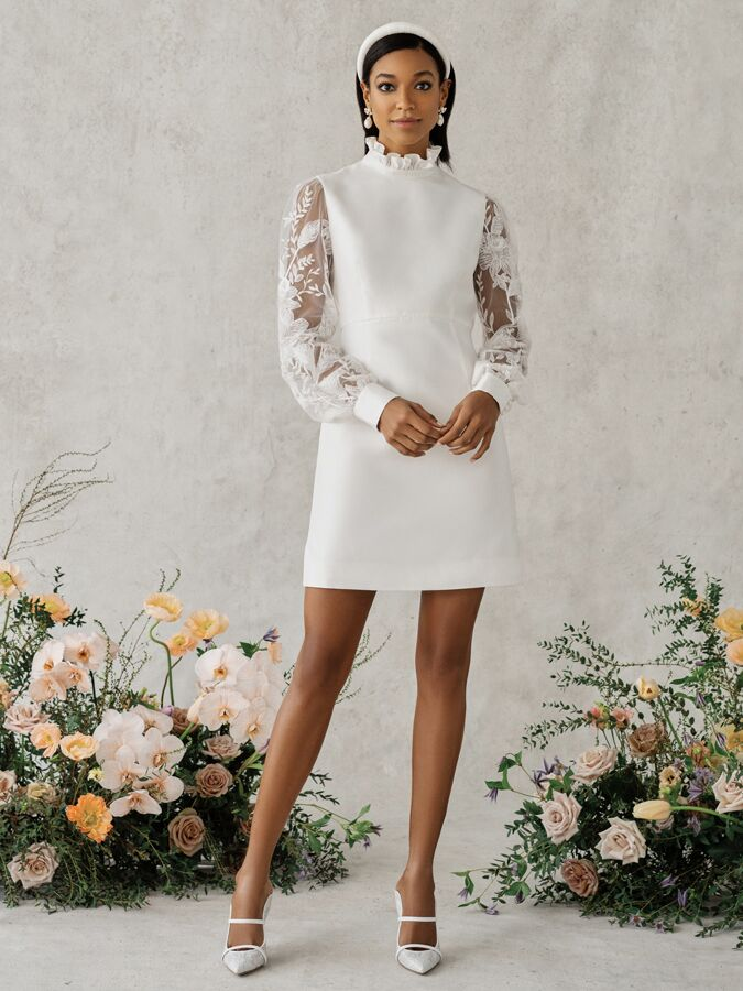 Alexandra Grecco Poppy high neck mini dress with long lace sleeves