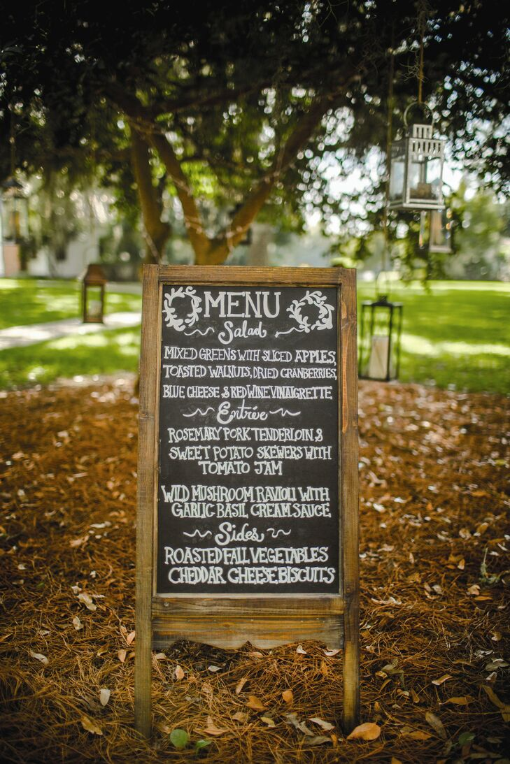 A rustic chalkboard displayed the fresh menu selections for dinner.