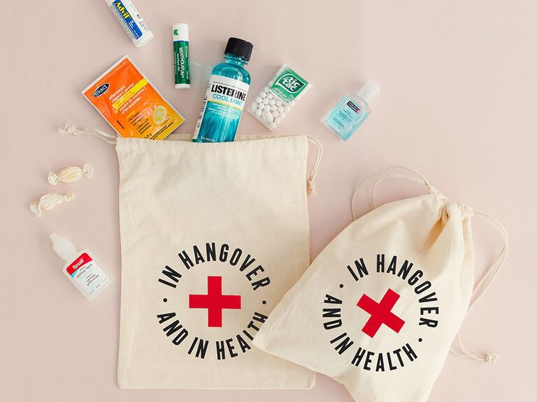 In Hangover and In Health favor bags with contents spilling out