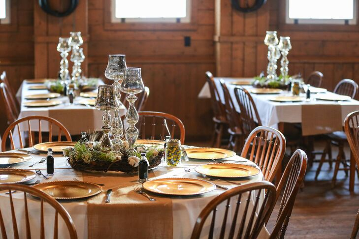 The tables had crisp white tablecloths, gold chargers, burlap table runners and lit mercury glass candelabras.